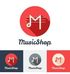 flat modern minimalistic music shop or studio logo vector image