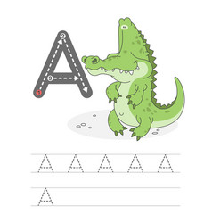 Funny alligator with letters a 2 vector