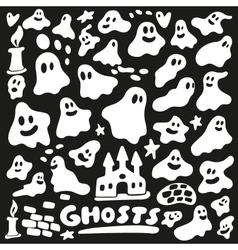 ghosts - doodles set vector image