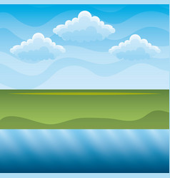 green hills and blue river sky landscape vector image