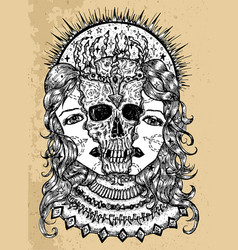 grunge with halves woman face and scary skull vector image