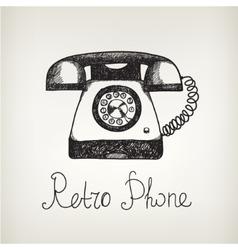 Hand drawn doodle retro phone vector