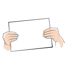 hands holding object mockup or paper edges vector image