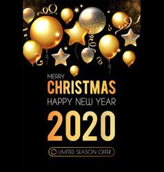 happy new 2020 year shining greeting card vector image