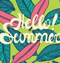Hello summer poster lettering with conceptual vector