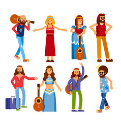Hippie men and women subculture peace and love vector