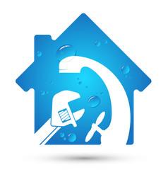 house plumbing repair symbol vector image