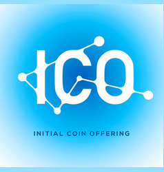 Ico blockchain icon on blue background vector