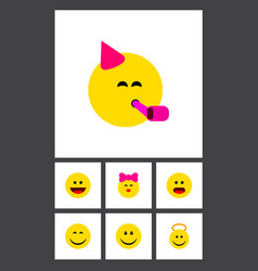 icon flat emoji set of smile cheerful joy and vector image