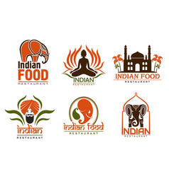 Indian food chef taj mahal lotus and elephant vector