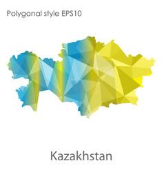 Isolated icon kasakhstan map polygonal vector