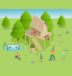 isometric wooden house in forest on the vector image