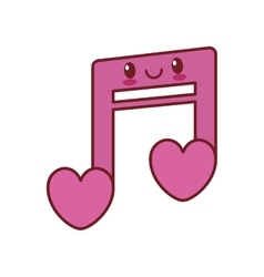 Kawaii love note musical valentine vector