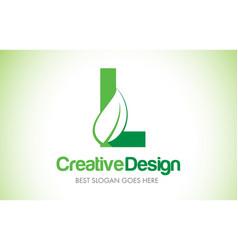 l green leaf letter design logo eco bio leaf vector image