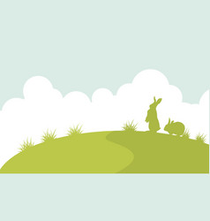 Landscape of easter bunny silhouette vector
