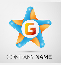 Letter g logo symbol in the colorful star on grey vector