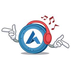 Listening music ardor coin mascot cartoon vector