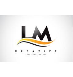 Lm l m swoosh letter logo design with modern vector