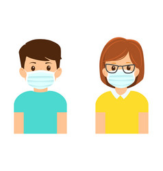 man and woman in medical masks isolated on white vector image