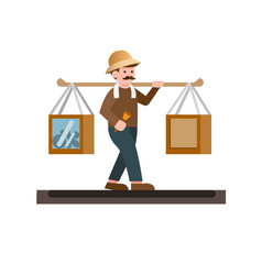 Man selling traditional food job profession icon vector
