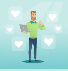 man with laptop and heart icons vector image