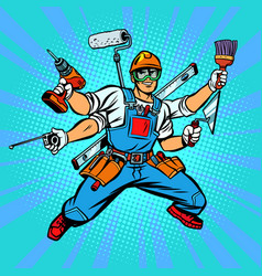 Many hand builder repairman worker vector