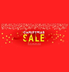 merry christmas sale banner with glitter confetti vector image