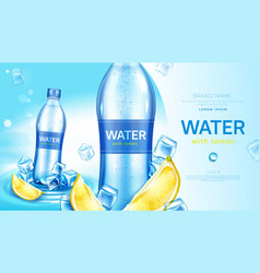Mineral water with lemon in bottle promo poster vector