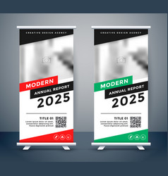 Modern style rollup standee banner design vector