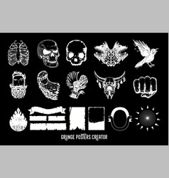 Music poster creator pack tattoo style vector