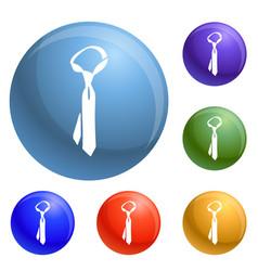 necktie icons set vector image