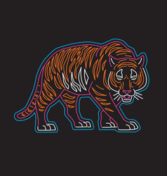 neon tiger graphic for t-shir vector image