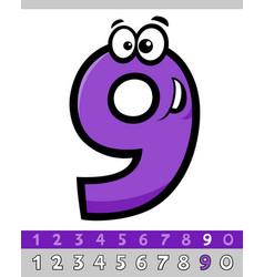 Number nine cartoon character vector