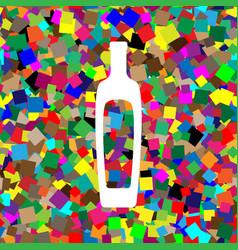 Olive oil bottle sign white icon on vector