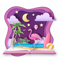 open fairy tale book with flamingo vector image