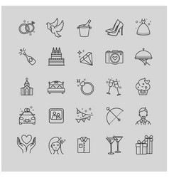 Outline icons - wedding love set vector