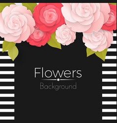 Paper flowers background with stripped frame vector