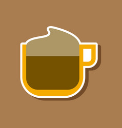 Paper sticker on stylish background coffee with vector