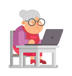 Pc computer granny with old lady education vector