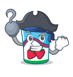 pirate yogurt character cartoon style vector image