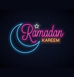 ramadan kareem neon sign eid neon vector image