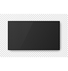 realistic black television screen on transparent vector image