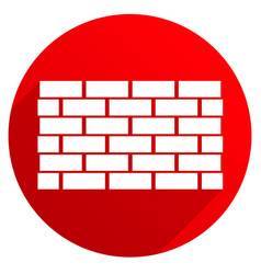 red icon with brick wall wall symbol casting vector image