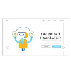 Robot translator foreign language website vector