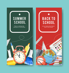 School flyer design with clock globe basketball vector