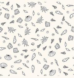 Seamless sea life monochrome pattern vector