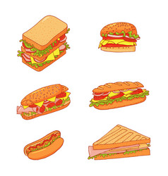 Set 6 sandwiches collection fast vector
