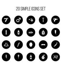 Set of 20 editable hairstylist icons includes vector