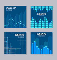set of 4 creative covers with infographic elements vector image