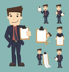 Set of businessman characters with checklist vector